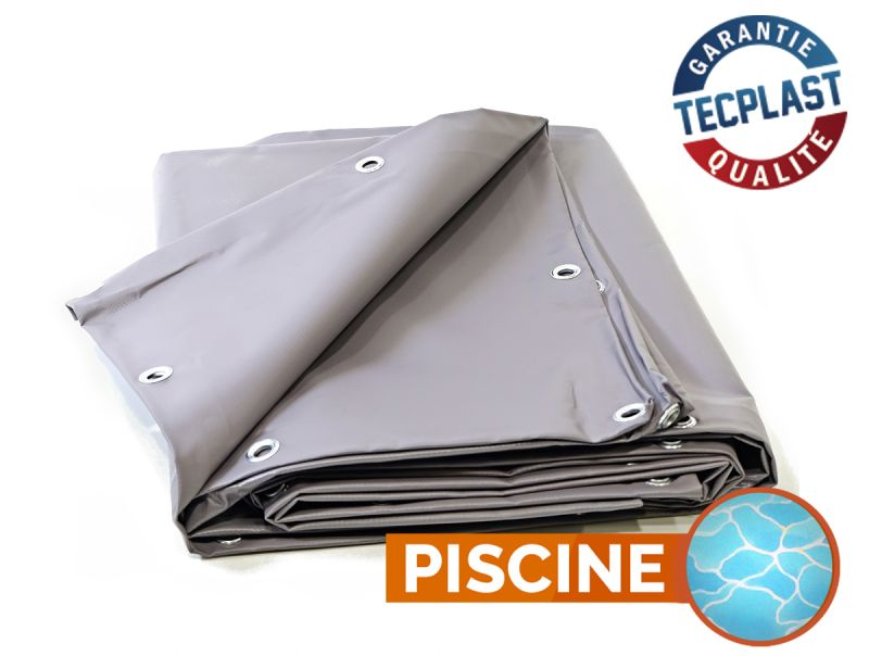 B che piscine pvc 900g m 8x9m grise protection for Bache pvc etanche